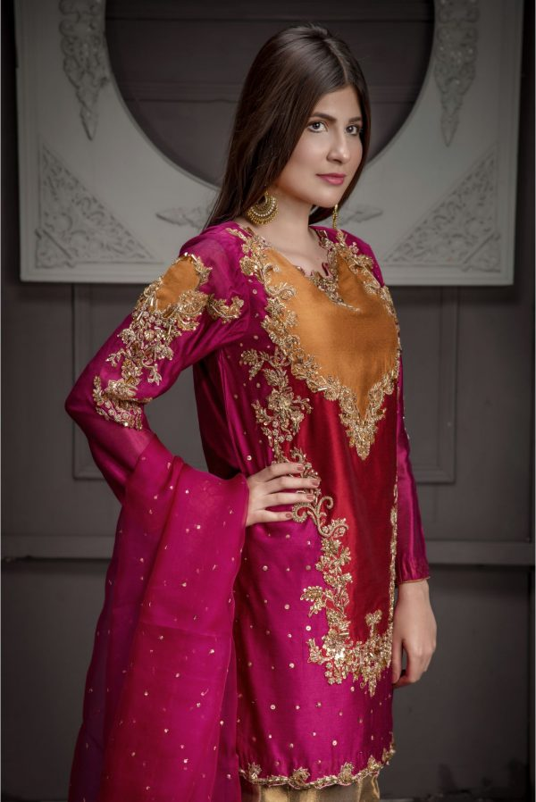 Buy Exclusive Hot Pink,Red And RUSAt Bridal Wear – Sdbd11 Online In USA, Uk & Pakistan - 02
