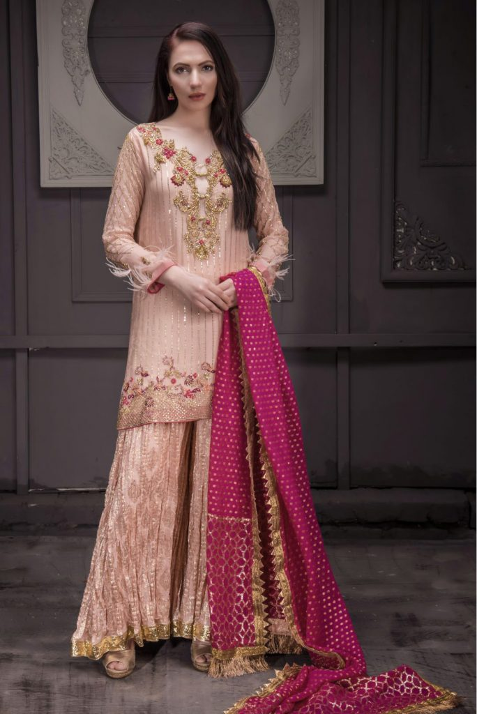 Buy Exclusive Peach And Hot Pink Bridal Wear – Sdbd25 Online In USA, Uk & Pakistan