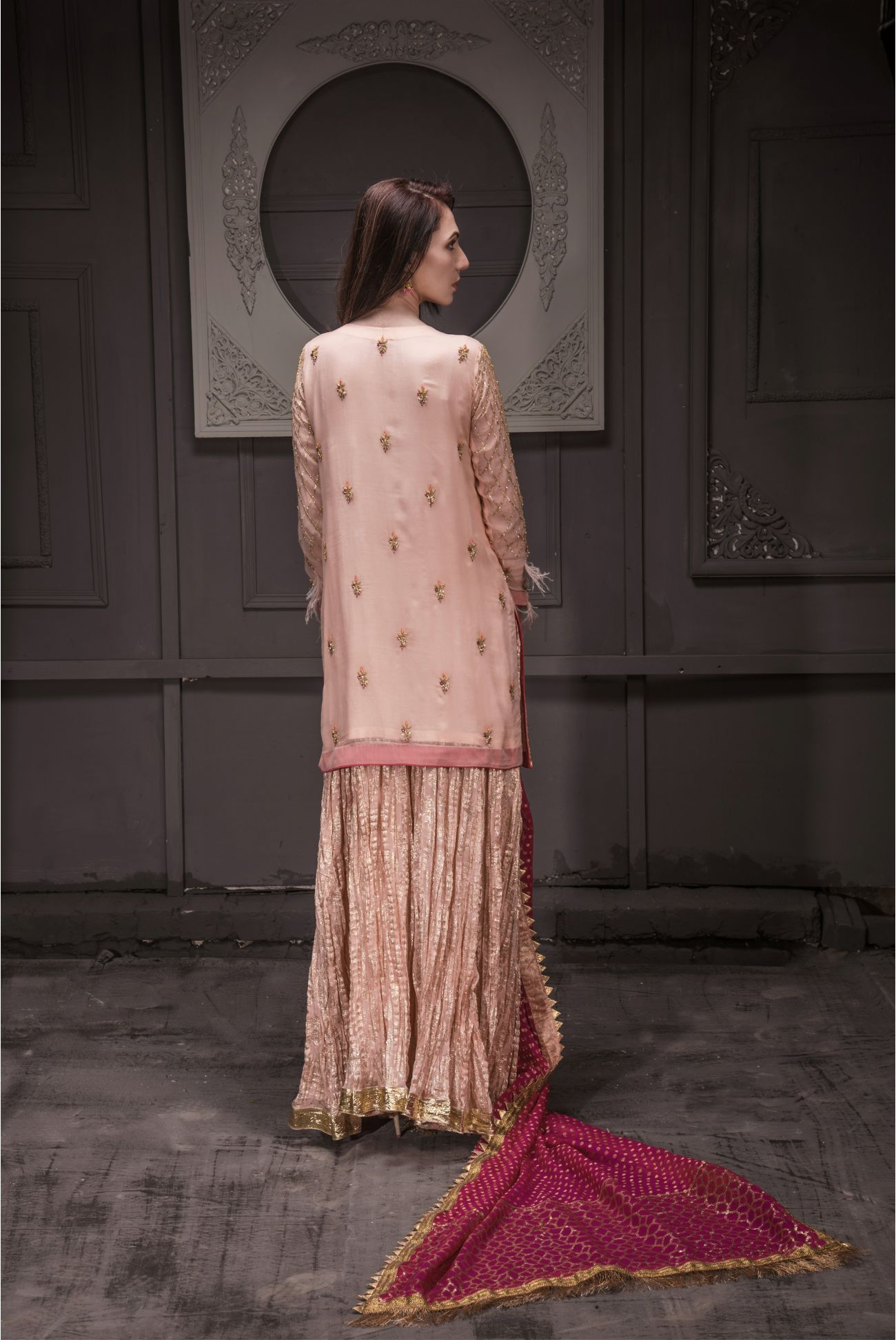Buy Exclusive Peach And Hot Pink Bridal Wear – Sdbd25 Online In USA, Uk & Pakistan - 03