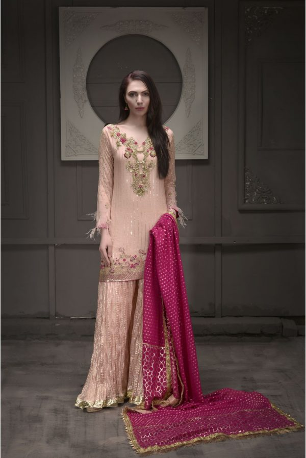 Buy Exclusive Peach And Hot Pink Bridal Wear – Sdbd25 Online In USA, Uk & Pakistan - 01