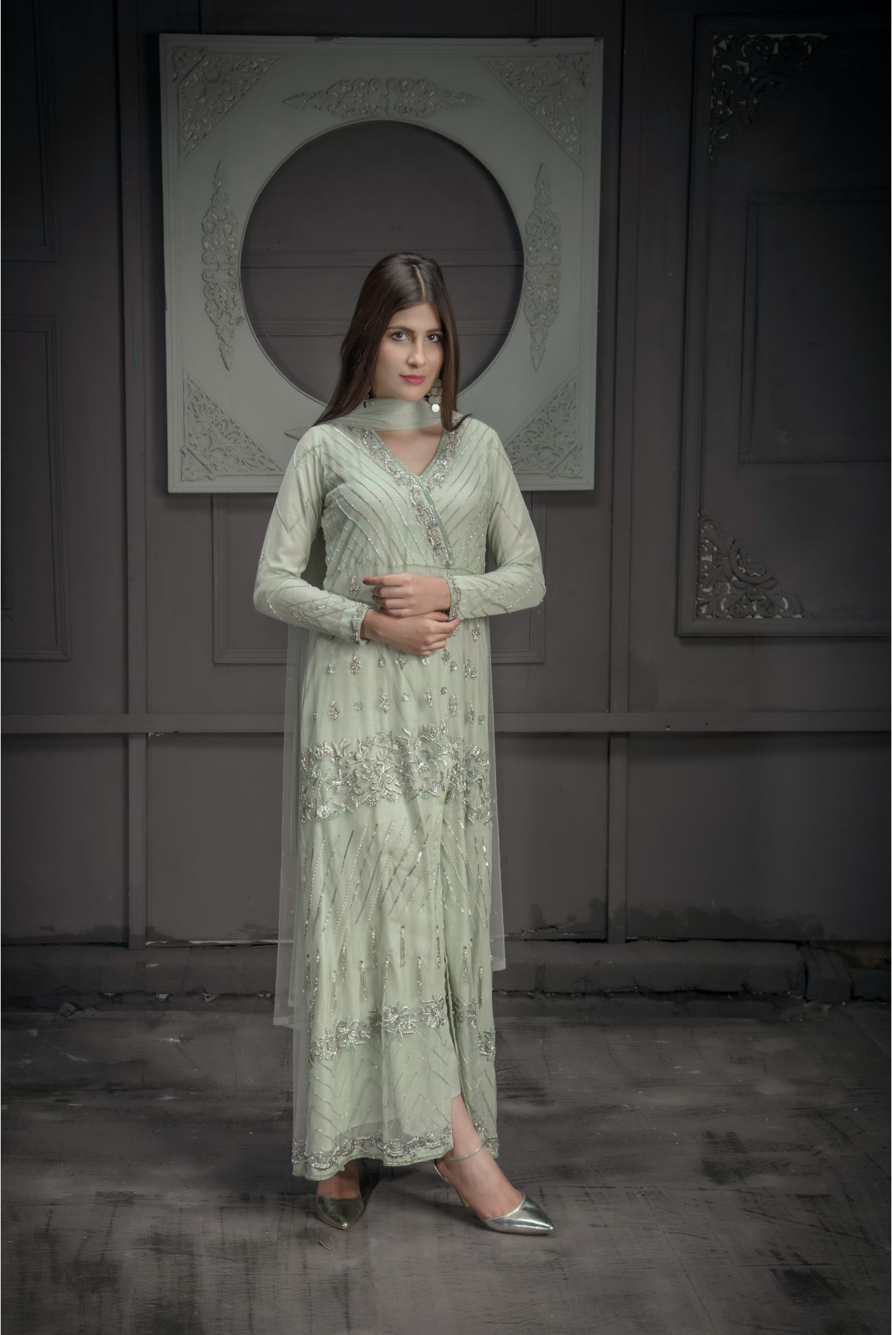 Buy Exclusive Mint Green Bridal Wear – Zbd15 Online In USA, Uk & Pakistan - 04