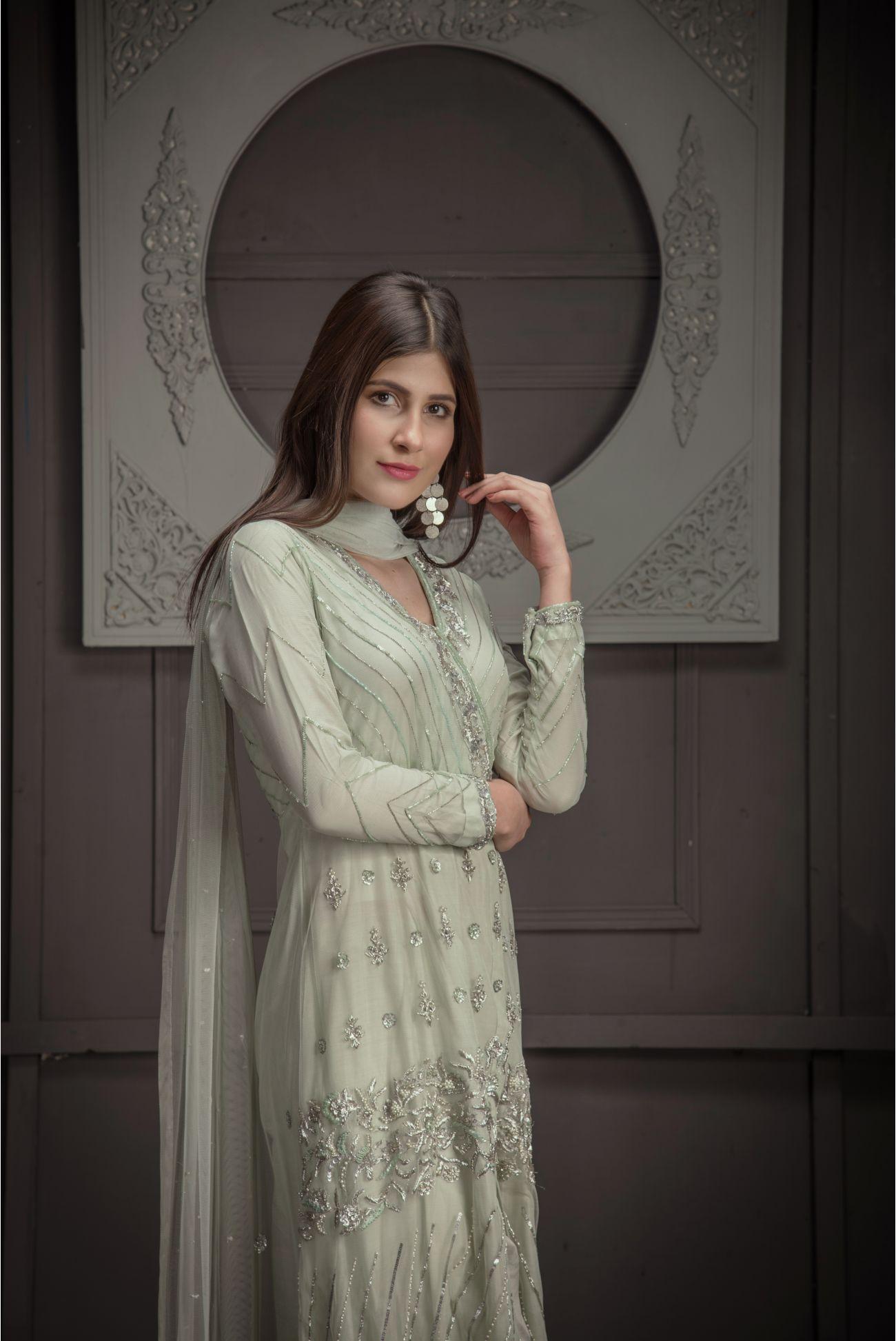 Buy Exclusive Mint Green Bridal Wear – Zbd15 Online In USA, Uk & Pakistan - 02