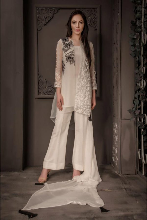 Buy Exclusive Ivory Party Wear – Aqs87 Online In USA, Uk & Pakistan - 01