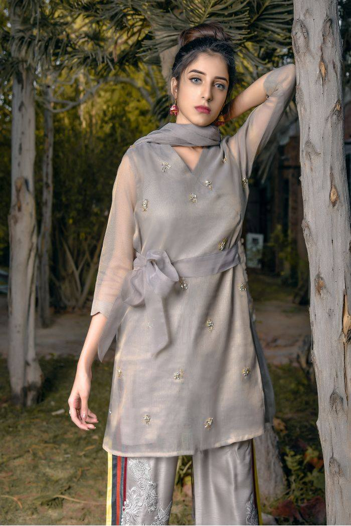 Buy Exclusive Grey Party Wear – Aqs94 Online In USA, Uk & Pakistan - 02