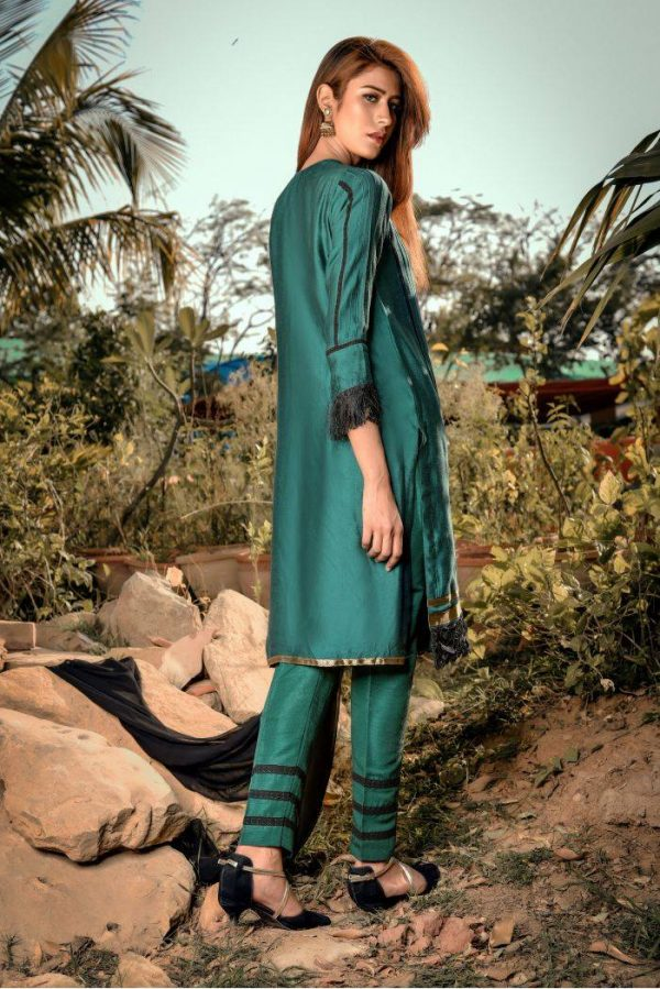 Buy Exclusive Green And Black Casual Wear – Sds248 Online In USA, Uk & Pakistan - 01