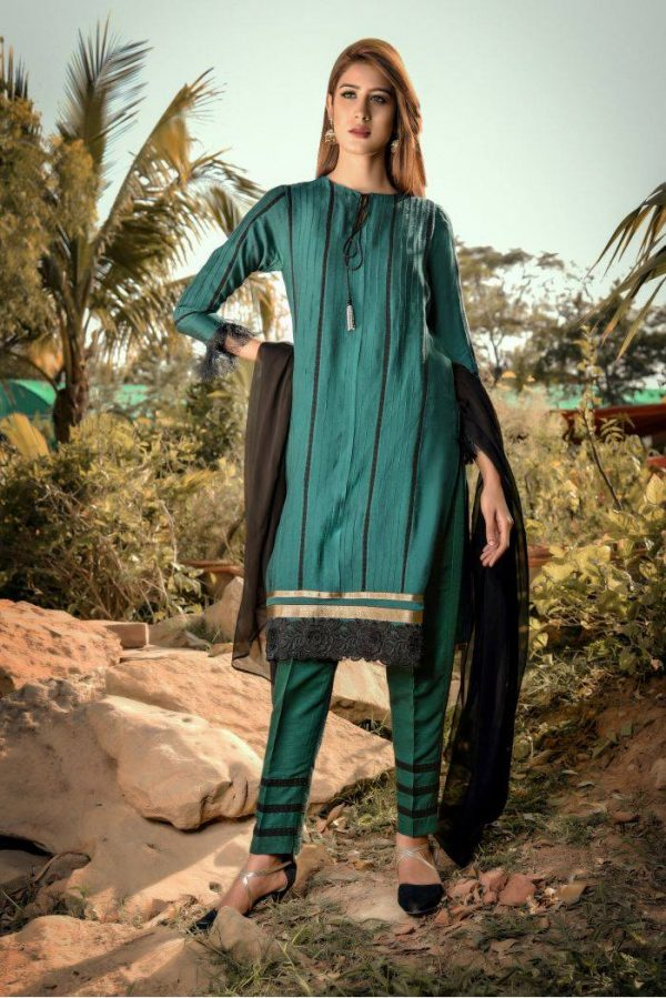 Buy Exclusive Green And Black Casual Wear – Sds248 Online In USA, Uk & Pakistan - 02
