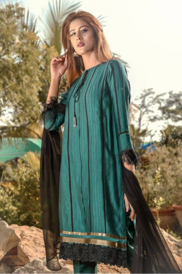 Buy Exclusive Green And Black Casual Wear – Sds248 Online In USA, Uk & Pakistan - 03