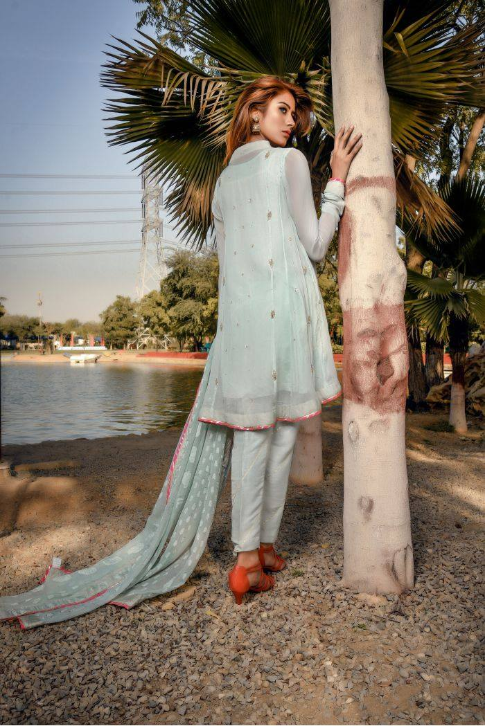 Buy Exclusive Aqua Party Wear – Sds249 Online In USA, Uk & Pakistan - 01