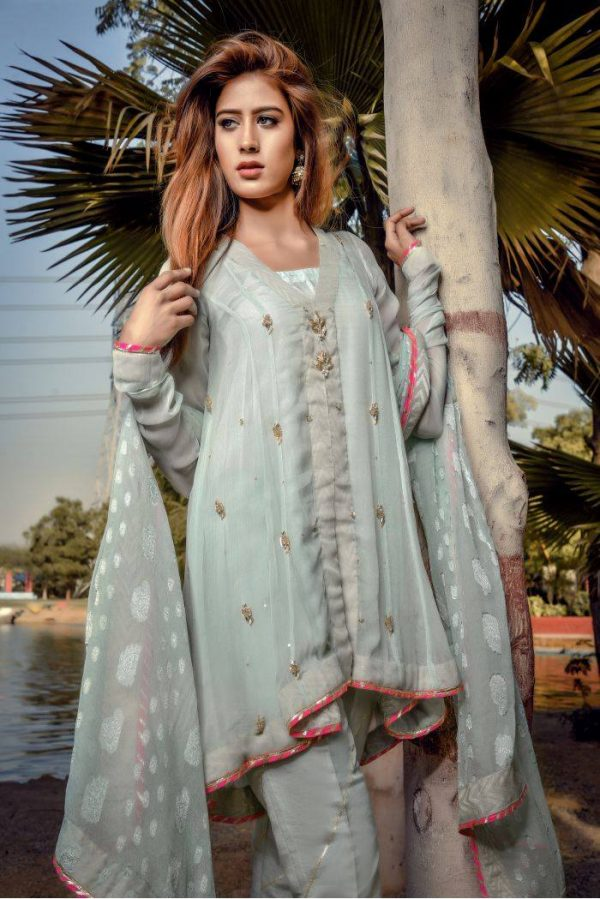 Buy Exclusive Aqua Party Wear – Sds249 Online In USA, Uk & Pakistan - 02