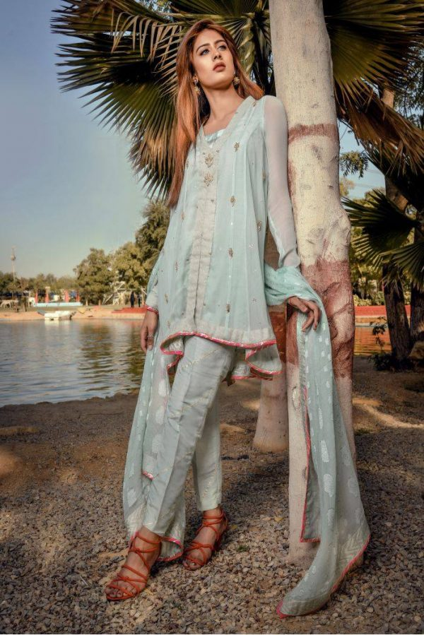 Buy Exclusive Aqua Party Wear – Sds249 Online In USA, Uk & Pakistan - 03