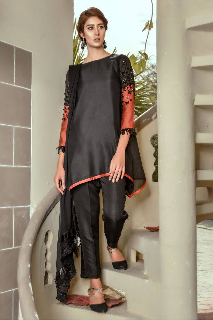 Buy Exclusive Black And RUSAt Party Wear – Sds259 Online In USA, Uk & Pakistan
