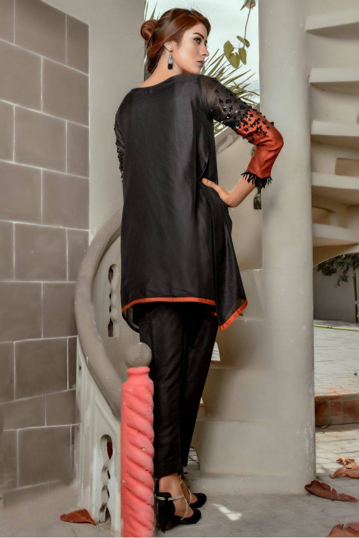 Buy Exclusive Black And RUSAt Party Wear – Sds259 Online In USA, Uk & Pakistan - 01