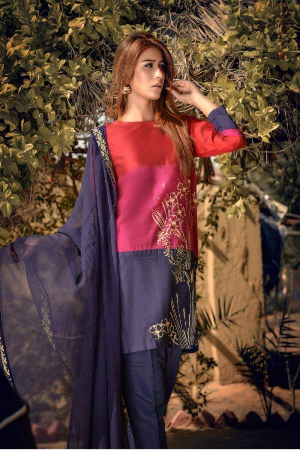 Buy Exclusive Red,Blue And Pink Party Wear – Sds261 Online In USA, Uk & Pakistan