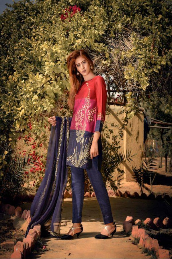 Buy Exclusive Red,Blue And Pink Party Wear – Sds261 Online In USA, Uk & Pakistan - 02