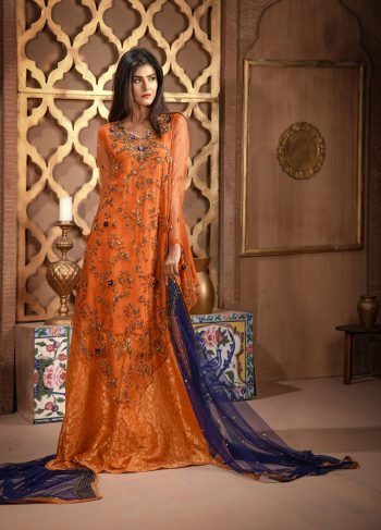Buy Exclusive RUSAt And Blue Bridal Wear – Aqbd26 Online In USA, Uk & Pakistan - 04
