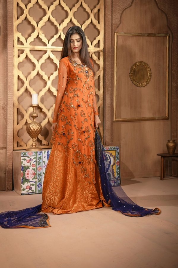 Buy Exclusive RUSAt And Blue Bridal Wear – Aqbd26 Online In USA, Uk & Pakistan - 02