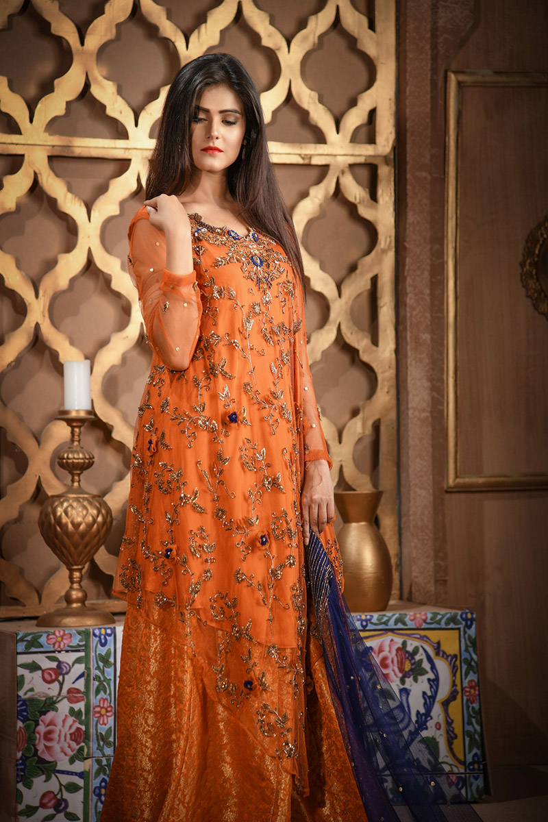 Buy Exclusive RUSAt And Blue Bridal Wear – Aqbd26 Online In USA, Uk & Pakistan - 01