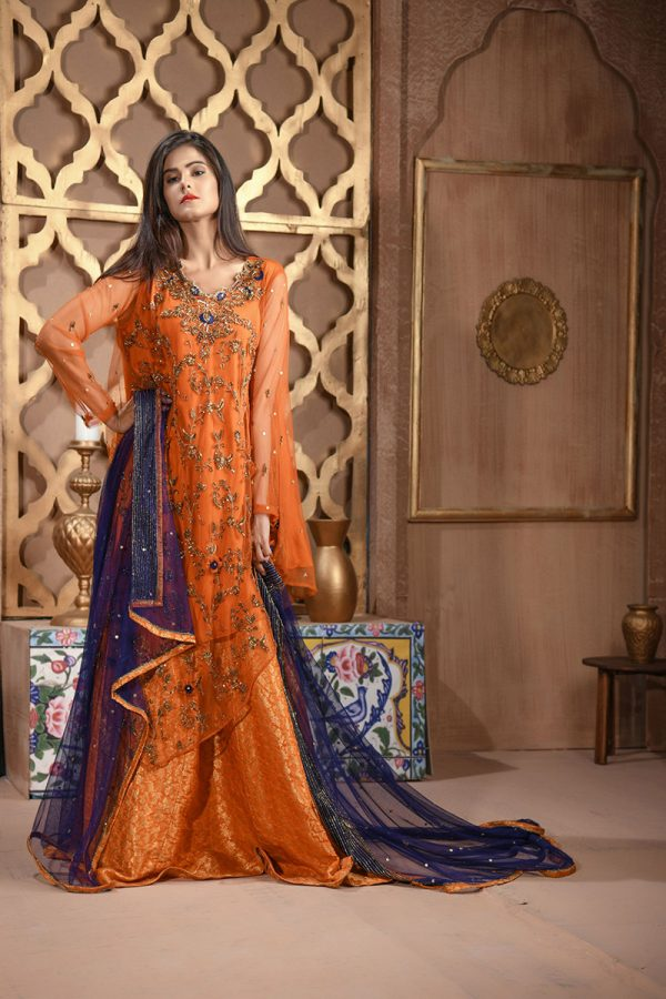 Buy Exclusive RUSAt And Blue Bridal Wear – Aqbd26 Online In USA, Uk & Pakistan