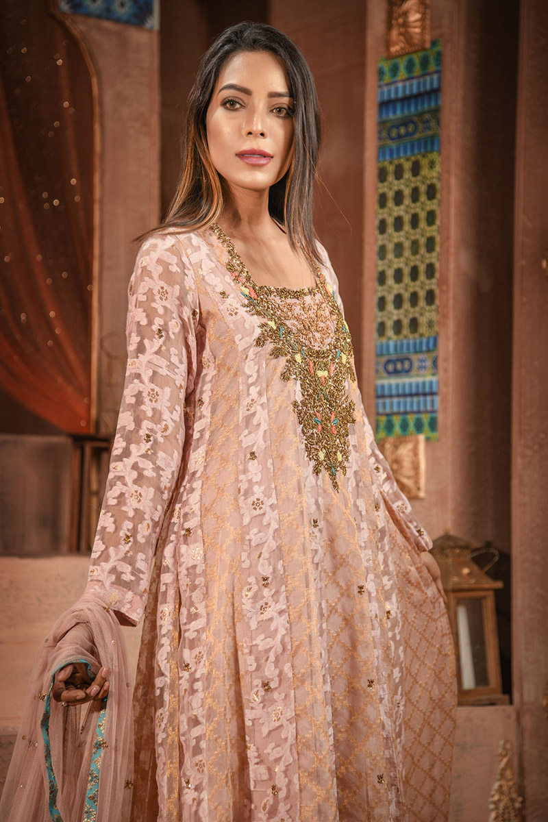 Buy Exclusive Silver Pink Luxury Pret – Aqs148 Online In USA, Uk & Pakistan - 02