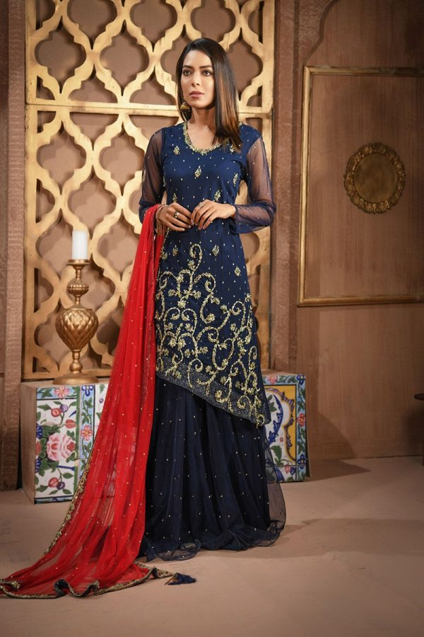 Buy Exclusive Navy Blue And Red Bridal Wear – Sdbd06 Online In USA, Uk & Pakistan - 03