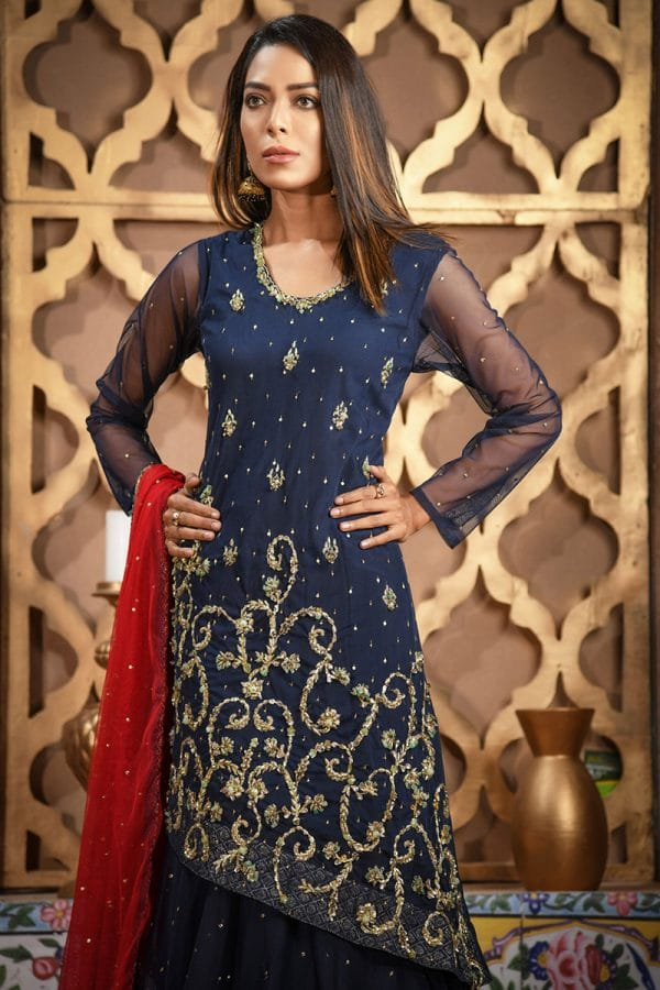 Buy Exclusive Navy Blue And Red Bridal Wear – Sdbd06 Online In USA, Uk & Pakistan - 01