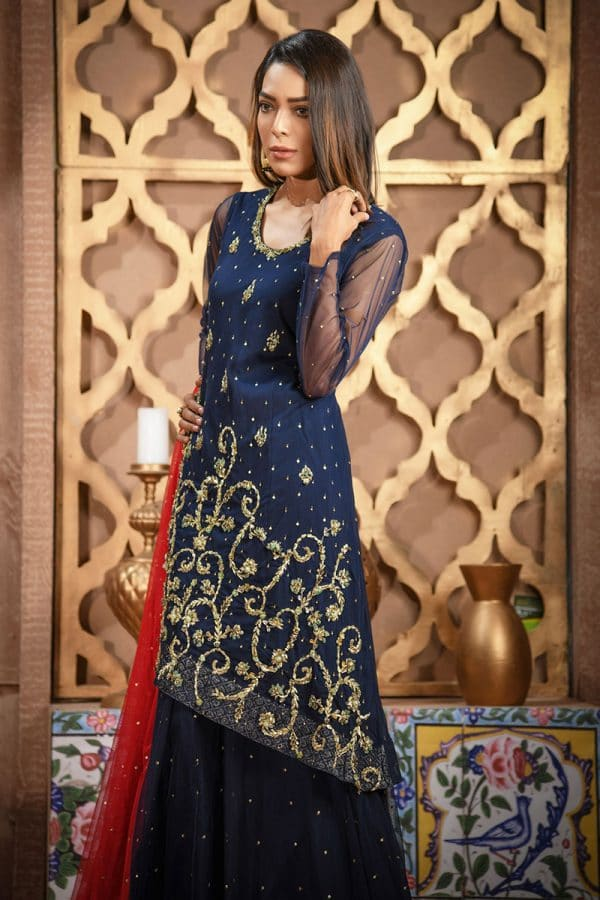 Buy Exclusive Navy Blue And Red Bridal Wear – Sdbd06 Online In USA, Uk & Pakistan