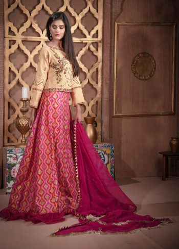 Buy Exclusive Golden And Magenta Bridal Wear – Sdbd27 Online In USA, Uk & Pakistan - 03