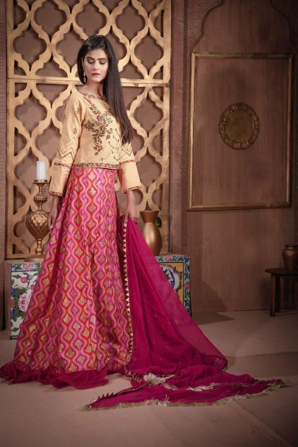 Buy Exclusive Golden And Magenta Bridal Wear – Sdbd27 Online In USA, Uk & Pakistan - 03
