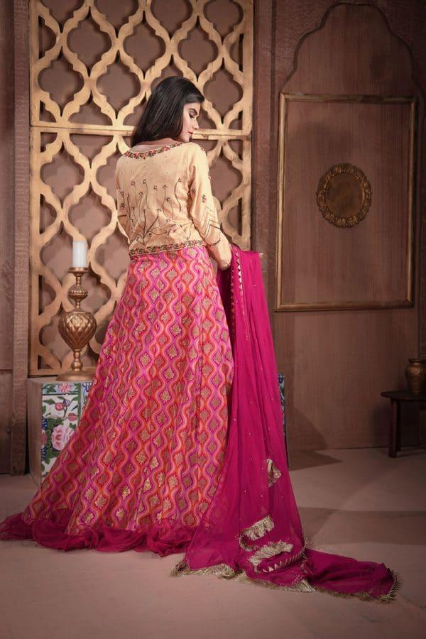 Buy Exclusive Golden And Magenta Bridal Wear – Sdbd27 Online In USA, Uk & Pakistan - 02