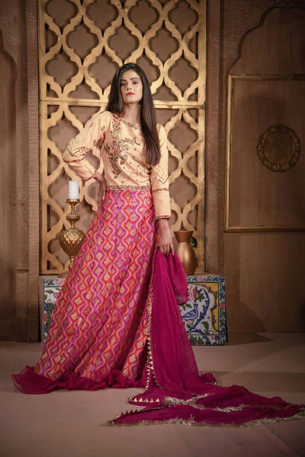 Buy Exclusive Golden And Magenta Bridal Wear – Sdbd27 Online In USA, Uk & Pakistan - 01