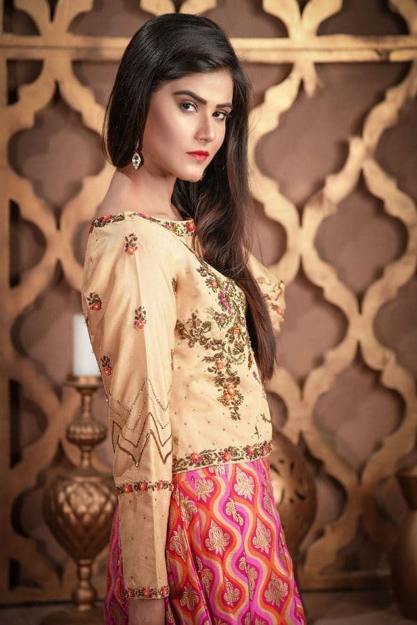 Buy Exclusive Golden And Magenta Bridal Wear – Sdbd27 Online In USA, Uk & Pakistan