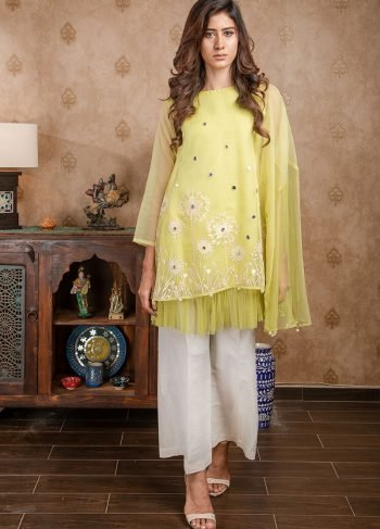 Buy Exclusive Lime Yellow Party Wear – Afc11 Online In USA, Uk & Pakistan - 02