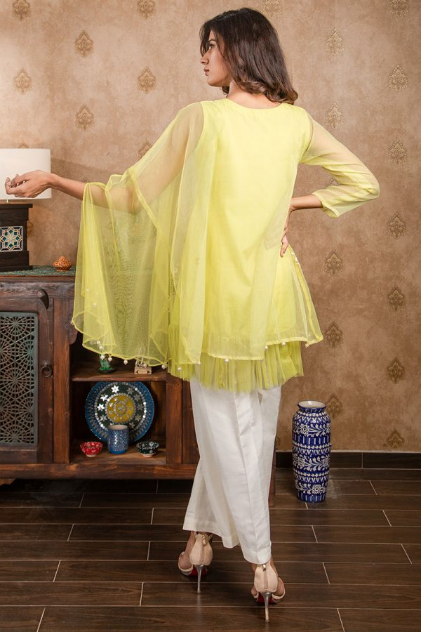 Buy Exclusive Lime Yellow Party Wear – Afc11 Online In USA, Uk & Pakistan - 01