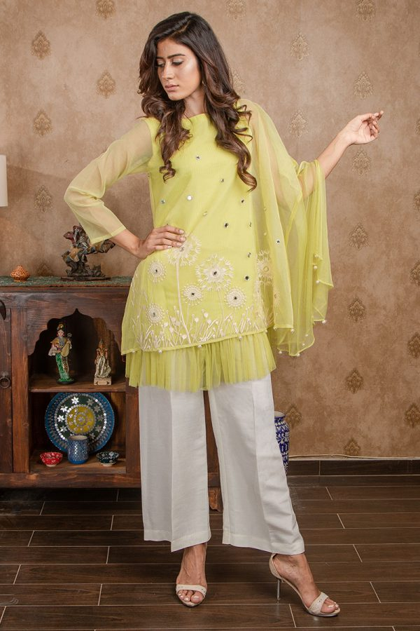 Buy Exclusive Lime Yellow Party Wear – Afc11 Online In USA, Uk & Pakistan