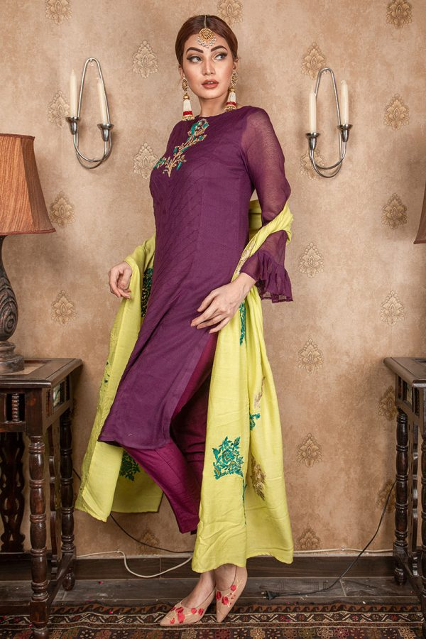 Buy Exclusive Purple & Lime Green Party Wear – Aqs208 Online In USA, Uk & Pakistan - 03