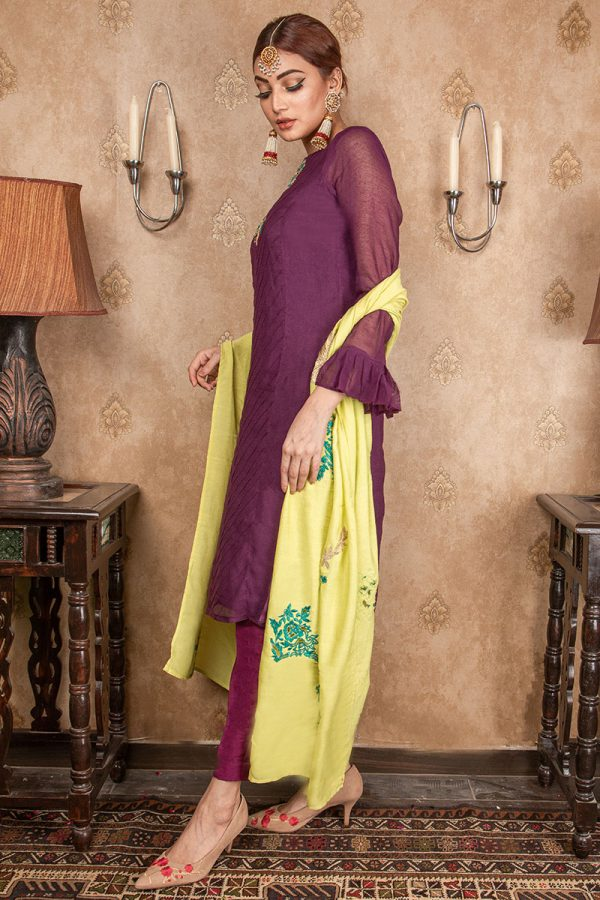 Buy Exclusive Purple & Lime Green Party Wear – Aqs208 Online In USA, Uk & Pakistan - 02