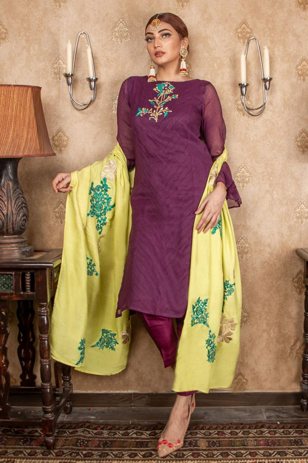 Buy Exclusive Purple & Lime Green Party Wear – Aqs208 Online In USA, Uk & Pakistan