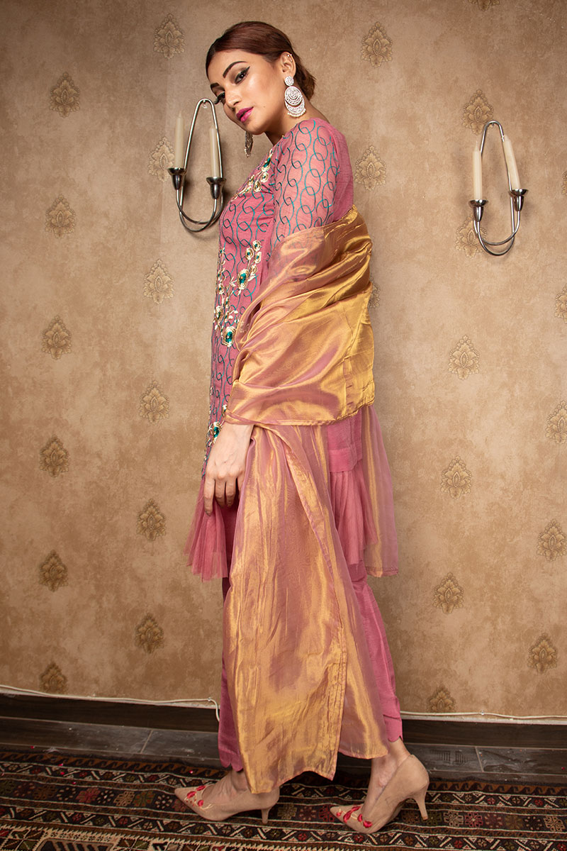Buy Exclusive Mauve Party Wear – Aqs212 Online In USA, Uk & Pakistan - 02
