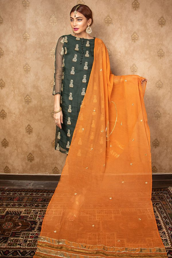 Buy Exclusive Green Green & Pink Wear – Aqs242 Online In USA, Uk & Pakistan - 04