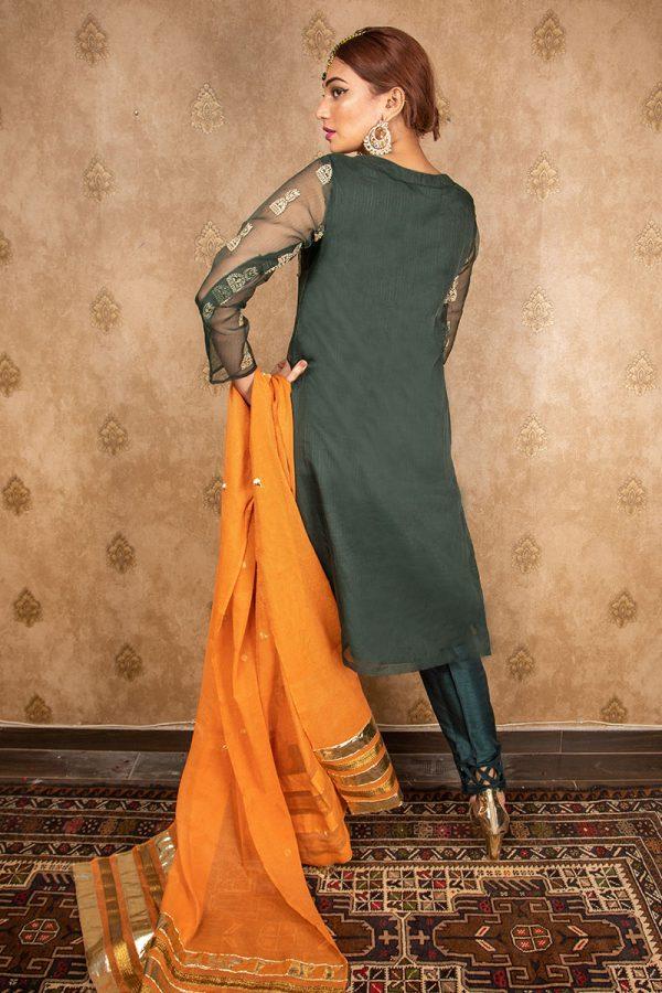 Buy Exclusive Green Green & Pink Wear – Aqs242 Online In USA, Uk & Pakistan - 03