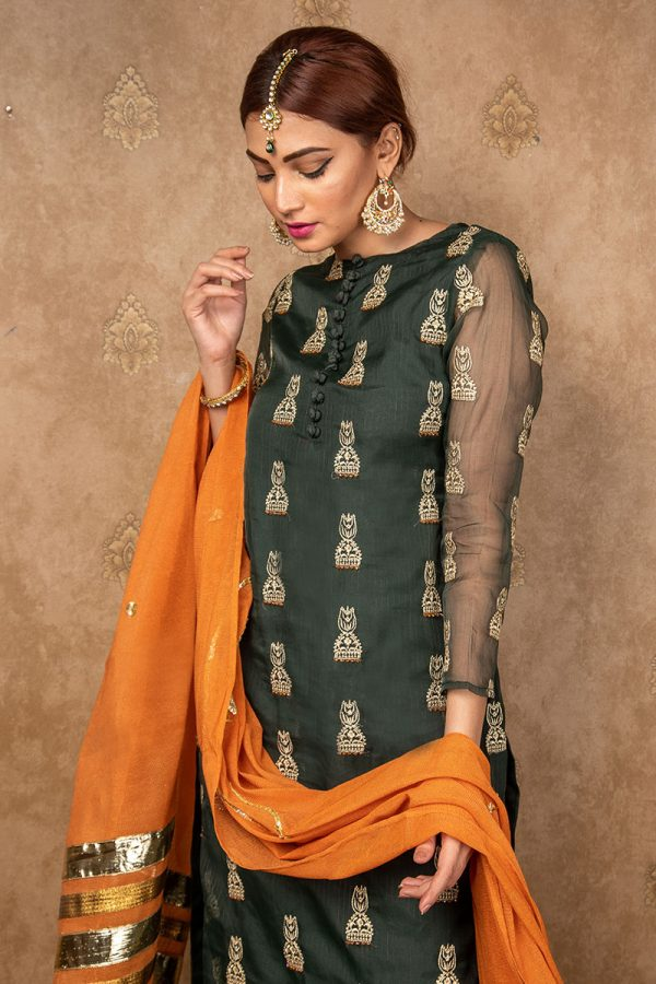 Buy Exclusive Green Green & Pink Wear – Aqs242 Online In USA, Uk & Pakistan - 02
