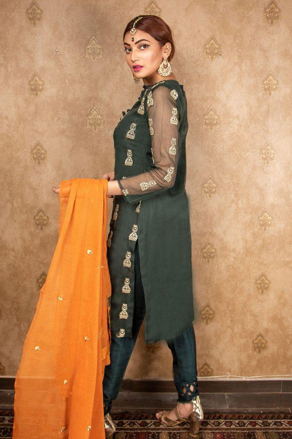 Buy Exclusive Green Green & Pink Wear – Aqs242 Online In USA, Uk & Pakistan - 01