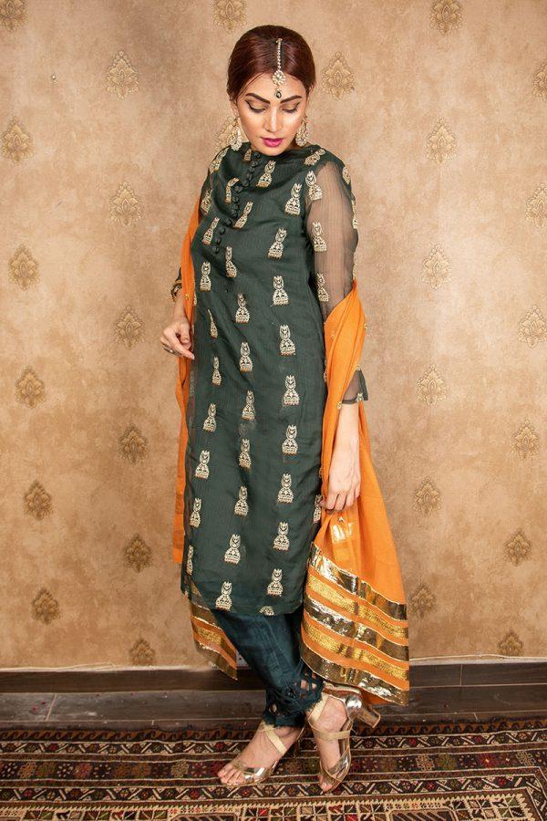 Buy Exclusive Green Green & Pink Wear – Aqs242 Online In USA, Uk & Pakistan
