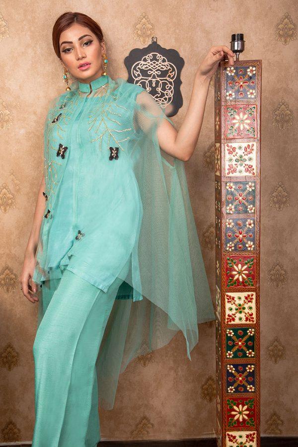 Buy Exclusive Aqua Party Wear – Aqs255 Online In USA, Uk & Pakistan - 02