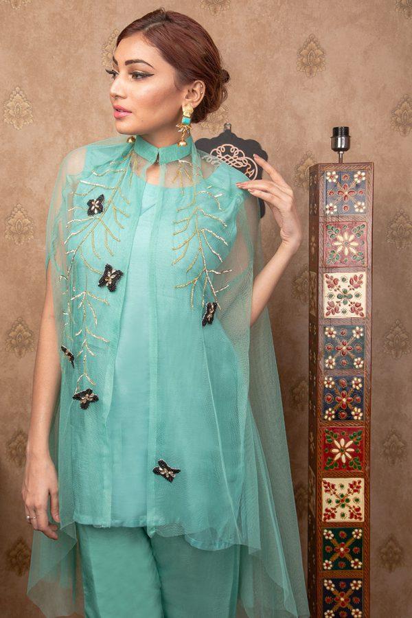 Buy Exclusive Aqua Party Wear – Aqs255 Online In USA, Uk & Pakistan - 03