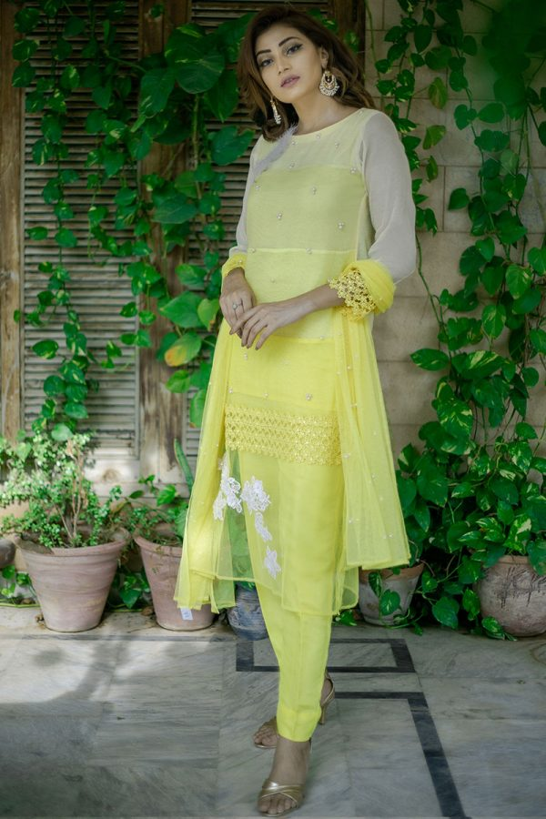Buy Exclusive Yellow Party Wear – Aqs262 Online In USA, Uk & Pakistan - 03