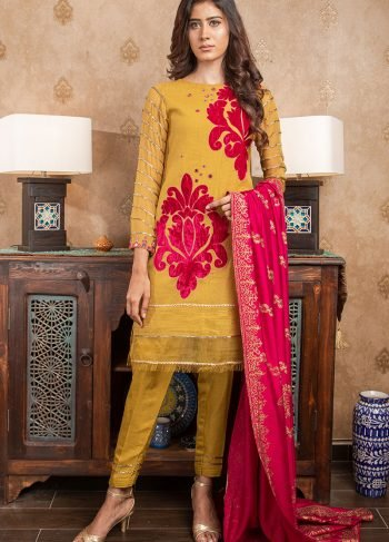 Buy Exclusive MUSAtard & Pink Party Wear – Sds363 Online In USA, Uk & Pakistan - 01
