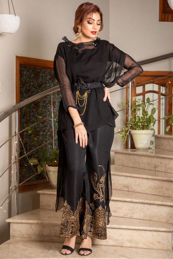 Buy Exclusive Black Party Wear – Sds373 Online In USA, Uk & Pakistan