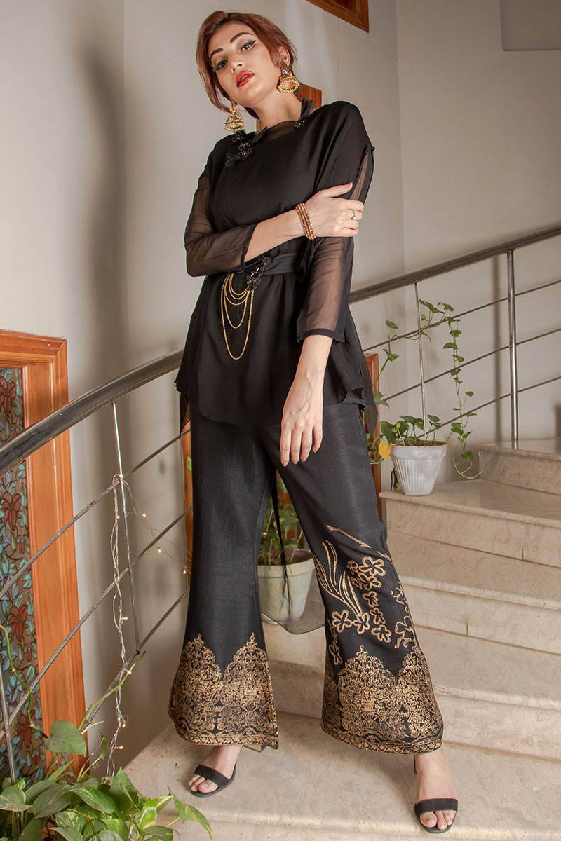 Buy Exclusive Black Party Wear – Sds373 Online In USA, Uk & Pakistan - 04