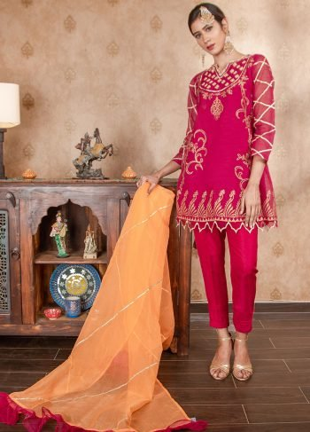 Buy Exclusive Magenta & Orange Party Wear – Sds374 Online In USA, Uk & Pakistan - 03